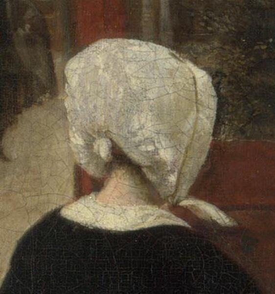 Питер де Хох, Женщина и служанка во внутреннем дворике, фрагмент «Головной убор»