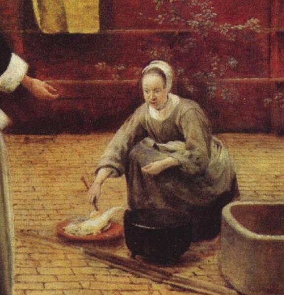 Питер де Хох, Женщина и служанка во внутреннем дворике, фрагмент «Кухарка с рыбой»