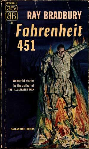 Обложка первого издания романа Рэя Бредбери «451° по Фаренгейту»