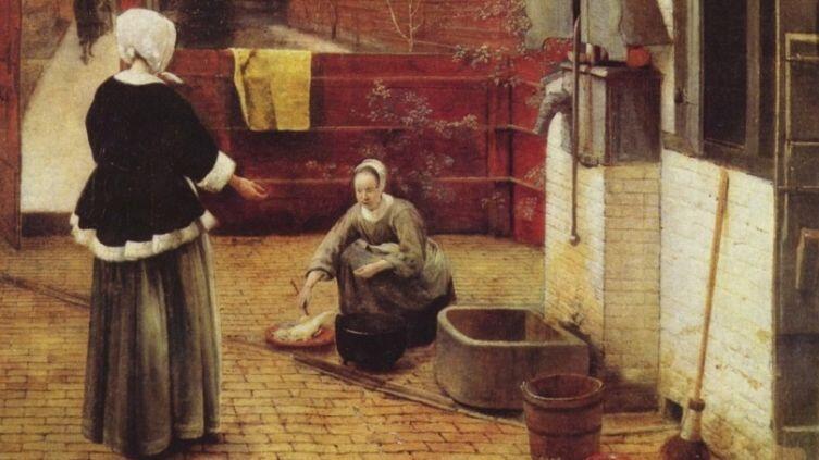 Питер де Хох, «Женщина и служанка во внутреннем дворике», фрагмент картины