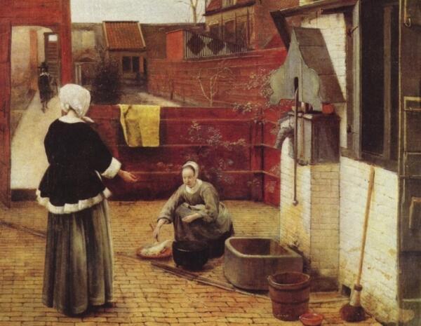 Питер де Хох, «Женщина и служанка во внутреннем дворике». Чем они заняты?