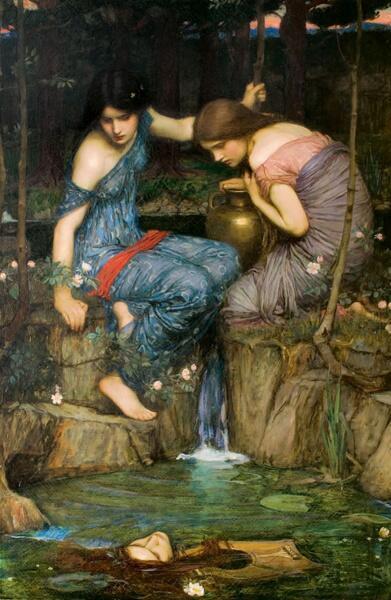 Джон Уильям Уотерхаус, «Нимфы находят голову Орфея», 1900 г.
