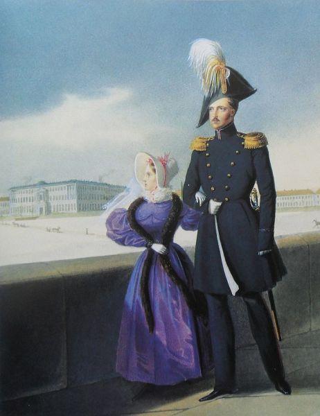 Николай I с дочерью Марией Николаевной во время прогулки по Дворцовой набережной