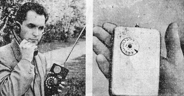 Л. Куприянович демонстрирует свои радиотелефоны