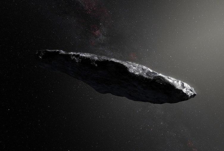 Первый известный межзвёздный астероид Оумуамуа в представлении художника