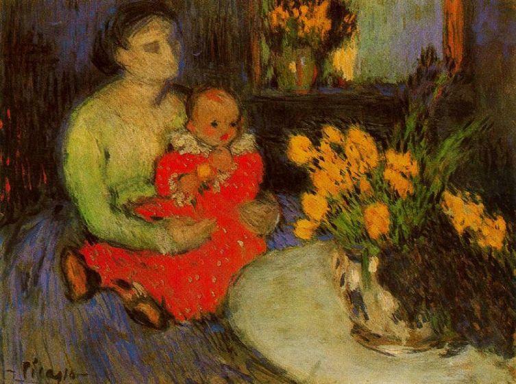 Пабло Пикассо, «Мать и ребенок рядом с букетом цветов», 1901 г.