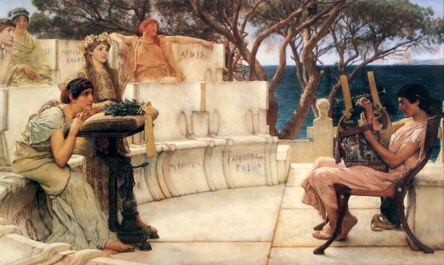 Лоуренс Альма-Тадема, «Сафо и Алкей», 1881 г.