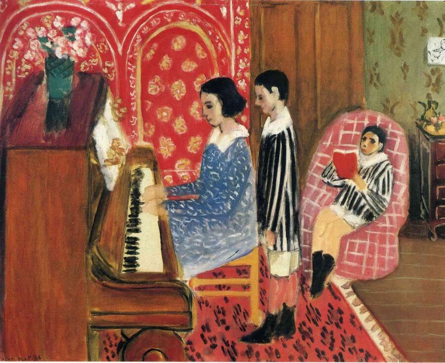 Анри Матисс, «Урок с фортепиано», 1923 г.