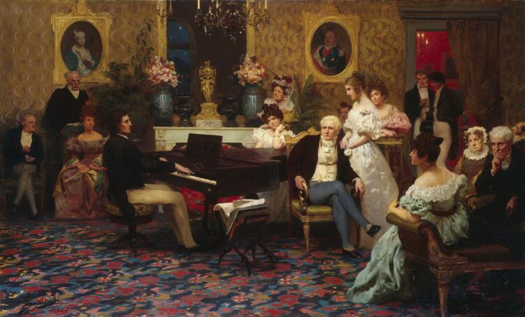 Г. И. Семирадский, «Шопен, играющий на фортепиано в салоне князя Радзивилла», 1887 г.