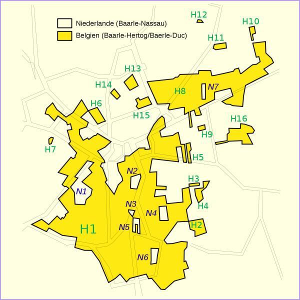 Карта города Барле. Жёлтым обозначена бельгийская территория