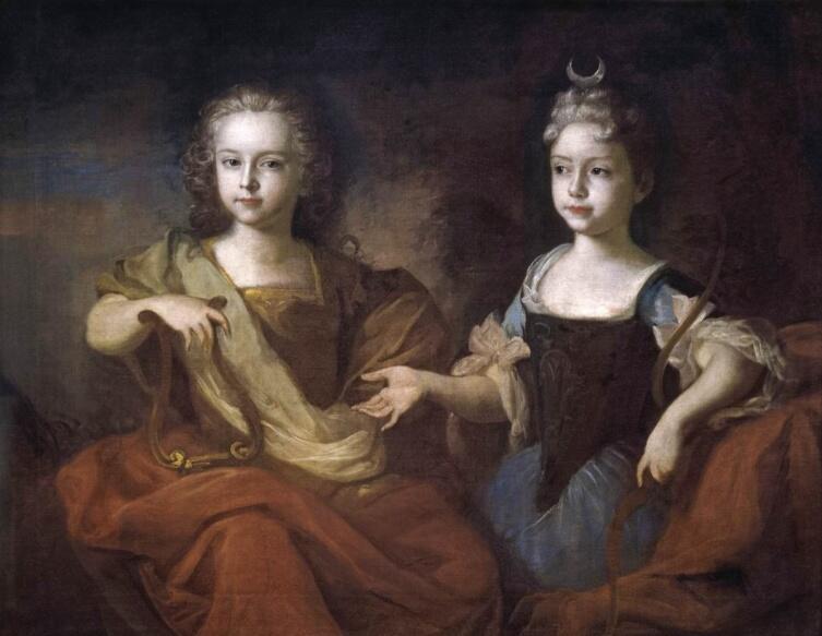 Луи Каравак, «Дети царевича Алексея Петр и Наталья в образе Аполлона и Дианы», 1729 г.