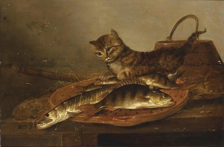 Питер де Пюттер, «Натюрморт с рыбой и кошкой»