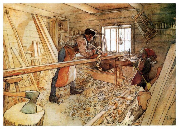 Карл Ларссон, «В столярной мастерской»