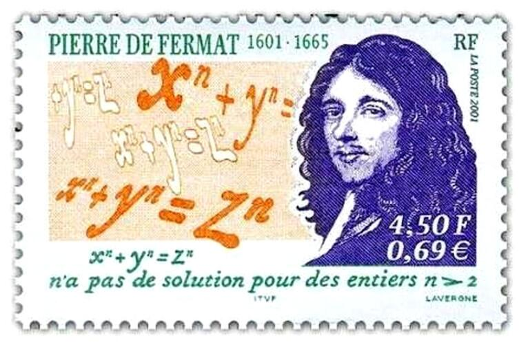 Пьер Ферма и формулировка великой теоремы, названной его именем, на французской почтовой марке. Обратите внимание на двойную цену марки— французские франки уже выходили из употребления, а евро— только входили