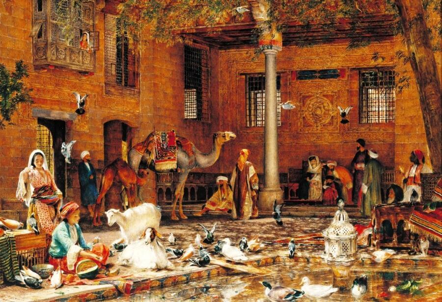 Джон Фредерик Льюис, «Двор дома патриарха коптов в Каире», фрагмент, 1864 г.