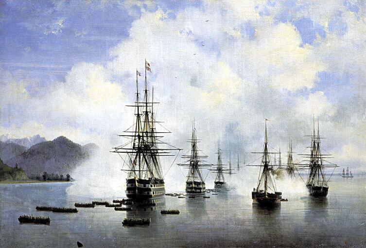И. И. Айвазовский, «Десант Н. Н. Раевского у Субаши», 1839 г.