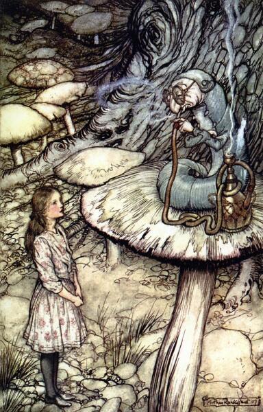 Артур Рэкхэм, «Встреча с гусеницей», иллюстрация к сказке