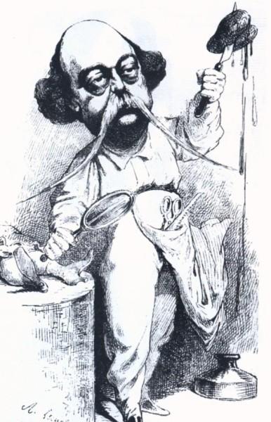 Флобер, препарирующий мадам Бовари. Карикатура 1869 года