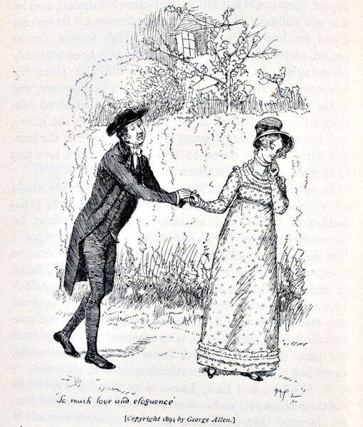 Хью Томсон, иллюстрация к роману «Гордость и предубеждение» для лондонского издательства «George Allen», 1894 г. «Избыток любви и красноречия», с.156
