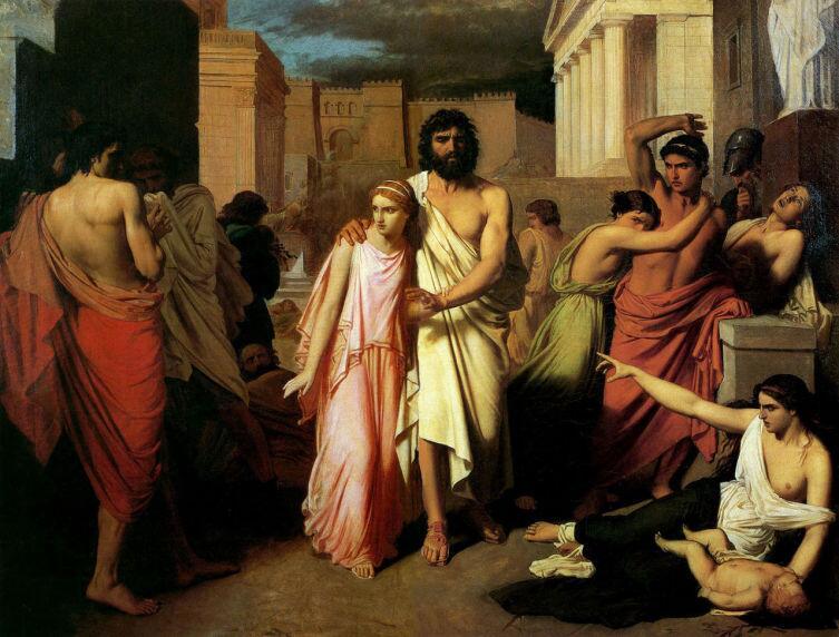 Шарль Жалабер, «Антигона и Эдип покидают Фивы», 1842 г.