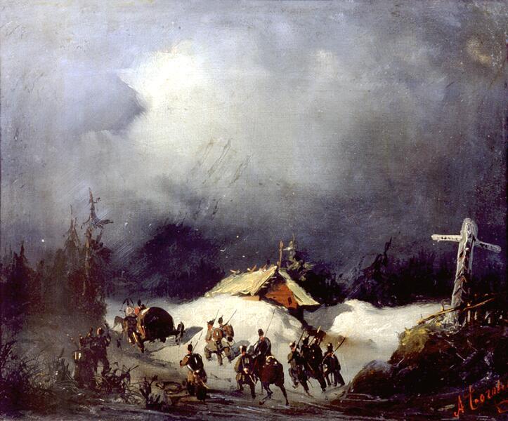 А. П. Боголюбов, «Отправление декабристов в ссылку в Финляндию», 1854 г.