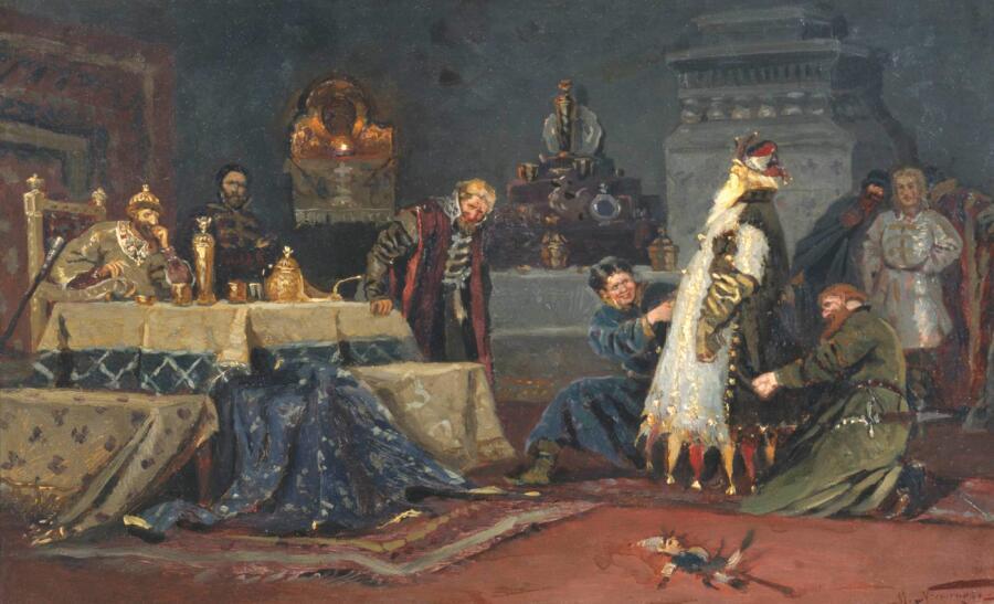 М. В. Нестеров, «Шутовской кафтан. Боярин Дружина Андреевич Морозов перед Иваном Грозным», 1885 г.