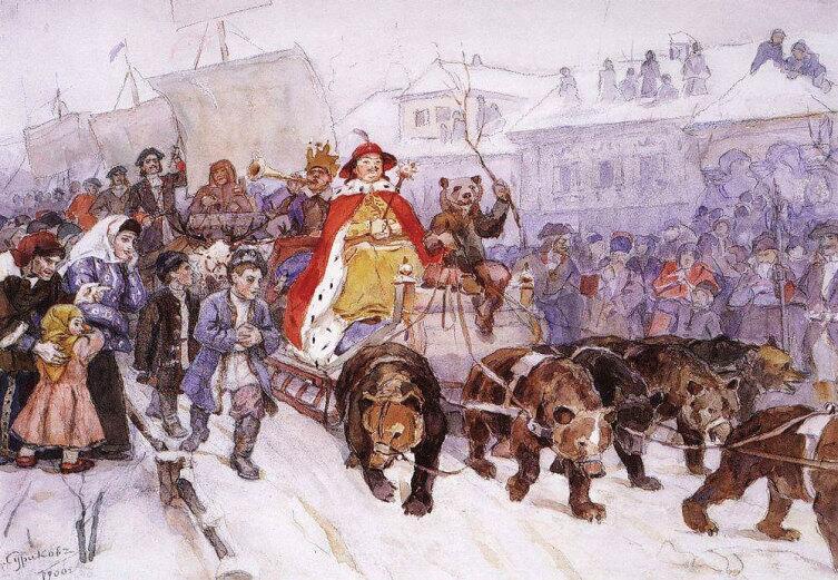 В. И. Сурикова, «Большой маскарад в 1772 году на улицах Москвы», 1900 г.