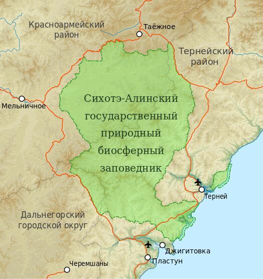 Карта Сихотэ-Алинского заповедника