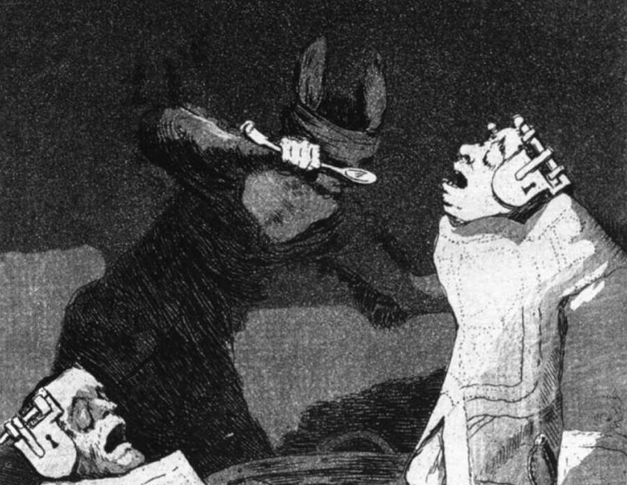Франсиско Гойя, «Сурки», серия «Капричос», лист 50, фрагмент, 1799 г.