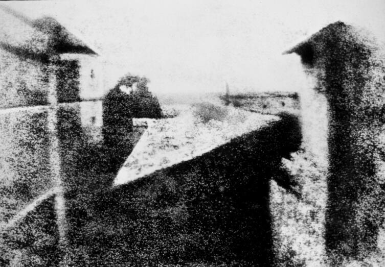 Гелиогравюра «Вид из окна в Ле Гра», отпечатанная с литографического клише