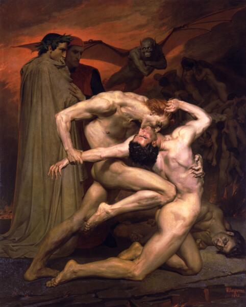 Адольф Вильям Бугро, «Данте и Вергилий в аду», 1850 г.
