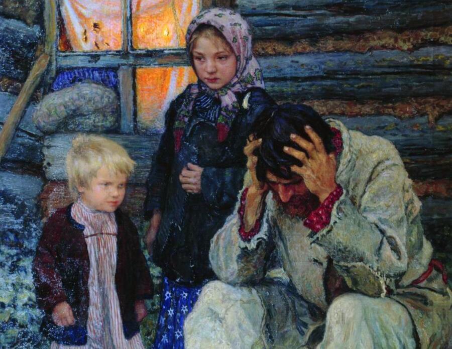 Н. П. Богданов-Бельский, «Горе», фрагмент, 1909 г.