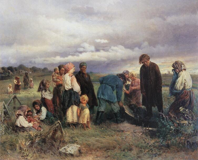 К. Е. Маковский, «Похороны ребенка в деревне», 1872 г.