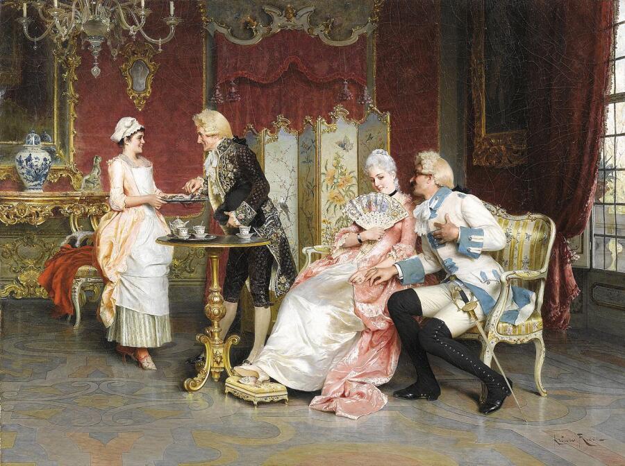 Артуро Риччи, «Послеобеденный чай», 1919 г.