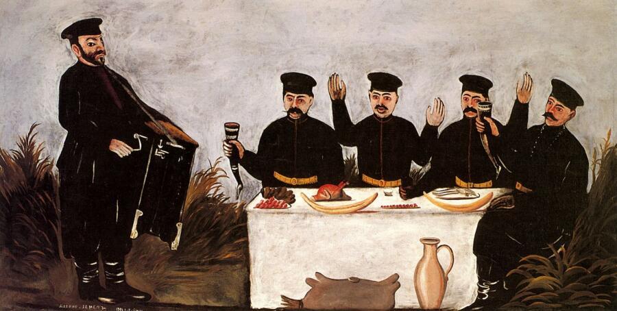 Нико Пиросмани (Пиросманашвили), «Застолье с шарманщиком Датико Земель», 1906 г.