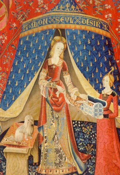 Фрагмент шпалеры из серии «Дама с единорогом». Конец XV века. Париж, Музей Клюни