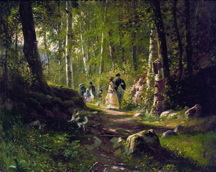 И. И. Шишкин, «Прогулка в лесу», 1869 г.