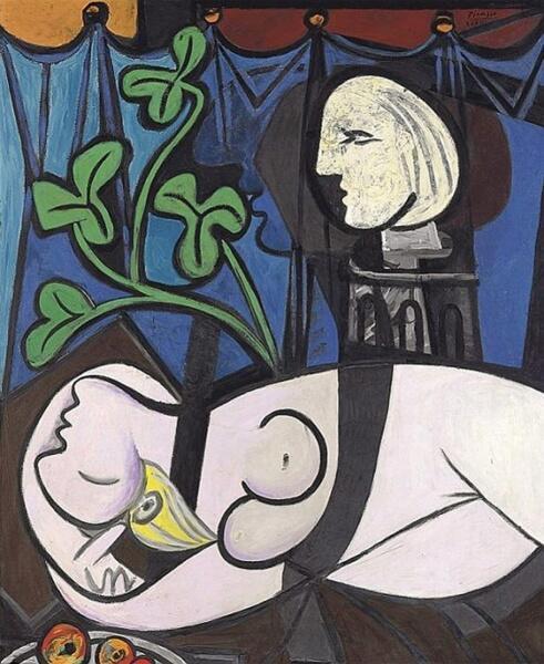 Пабло Пикассо, «Обнаженная, зеленые листья и бюст», 1932 г. Изображена Мария Тереза Вальтер. Картина продана в 2010 году за 106 482 500 долларов США
