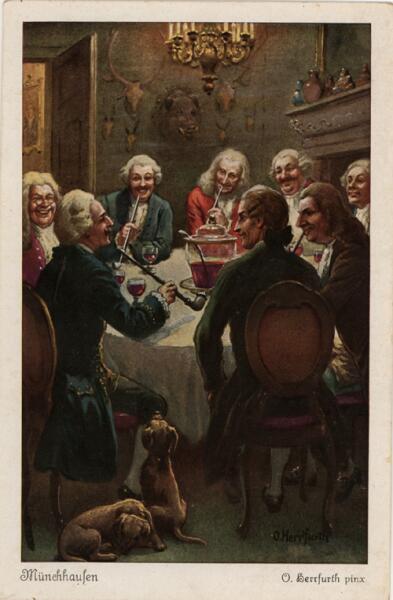 Мюнхаузен рассказывает истории. Старинная открытка