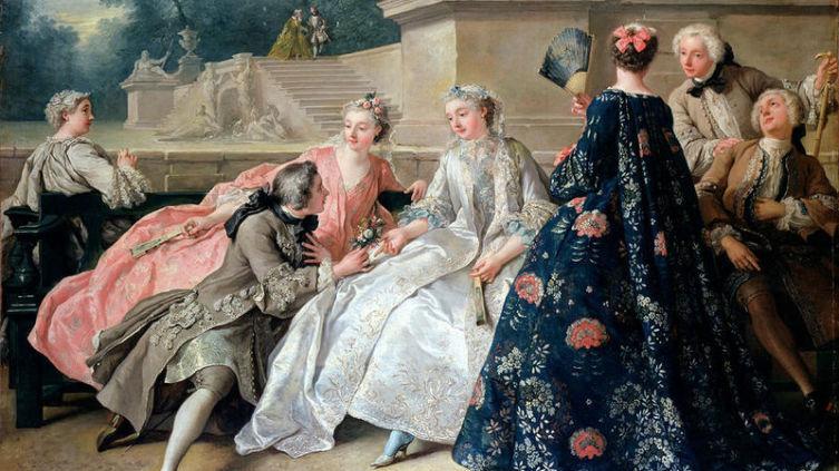 «Общество в парке». Картина Ж. ф. де Труа