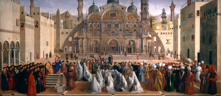 Джентиле и Джованни Беллини. Святой Марк проповедует на площади в Александрии Египетской