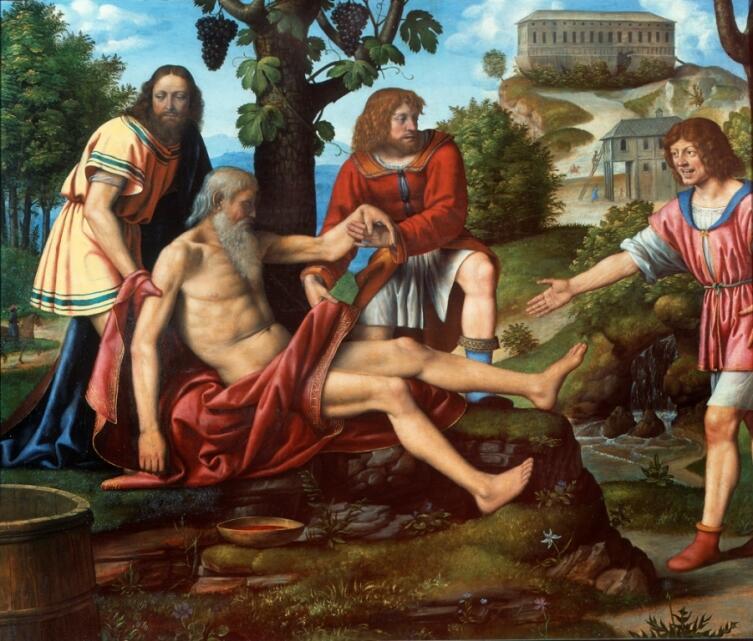 Ну разве не прелестен Хам, издевающийся над отцом на картине Бернардино Луини?