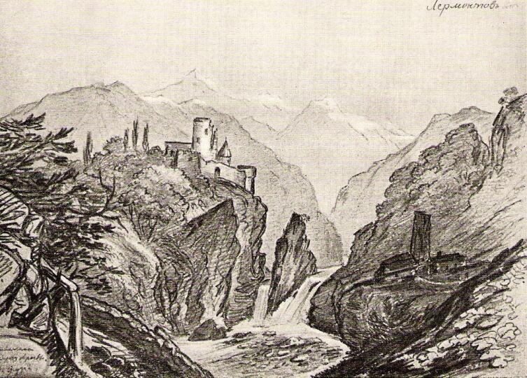 Развалины на берегу Арагвы в Грузии, 1837 год