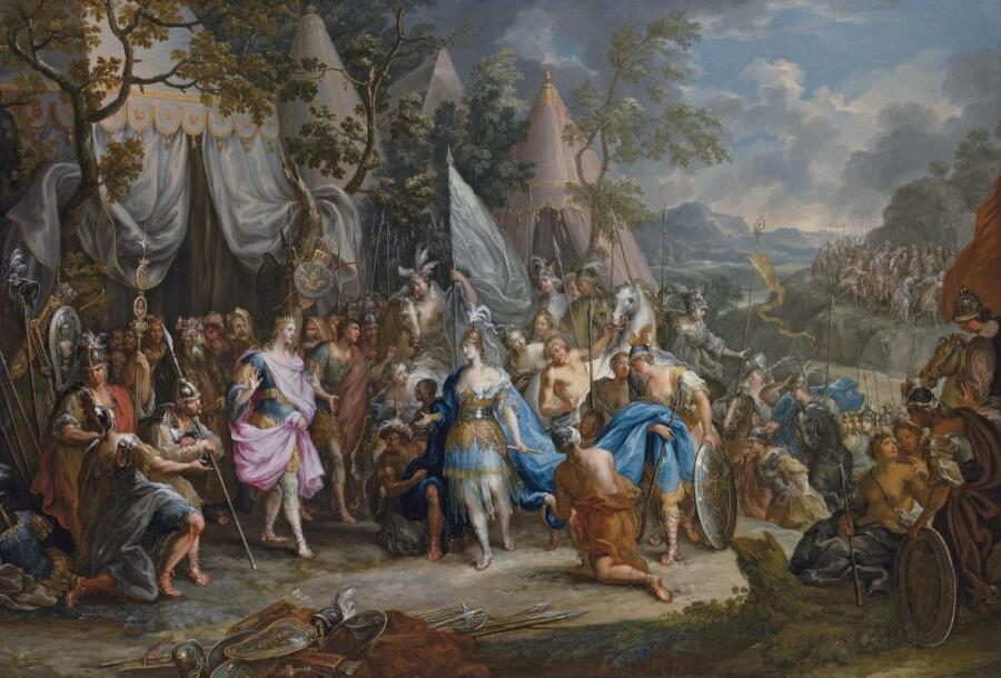 Иоганн Георг Платцер, «Царица амазонок Фалестрис в лагере Александра Македонского»