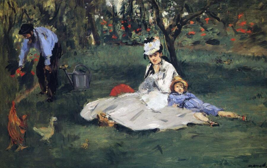«Семья Моне в своем саду в Аржантее», худ. Э. Мане