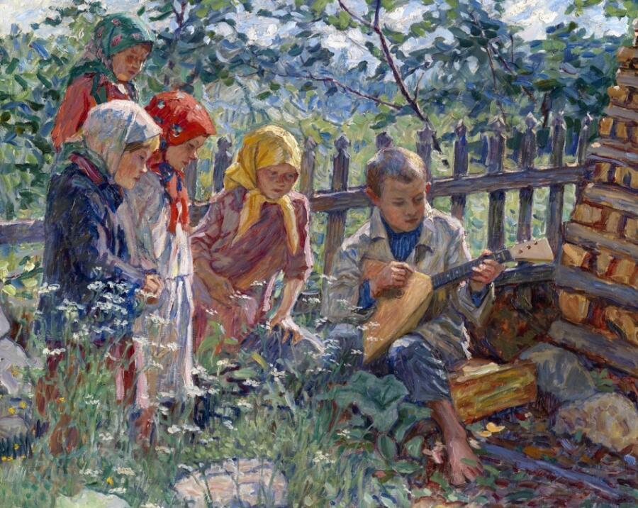 Н. П. Богданов-Бельский, «Мальчик играет на балалайке», фрагмент, 1929 г.