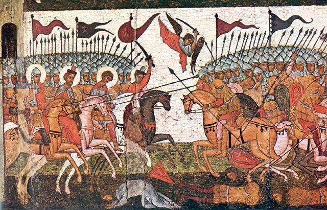 Битва новгородцев и суздальцев в 1170 г., фрагмент иконы 1460 г.