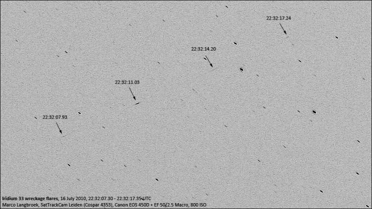 Вспышки, созданные крупным обломком 33 Iridium