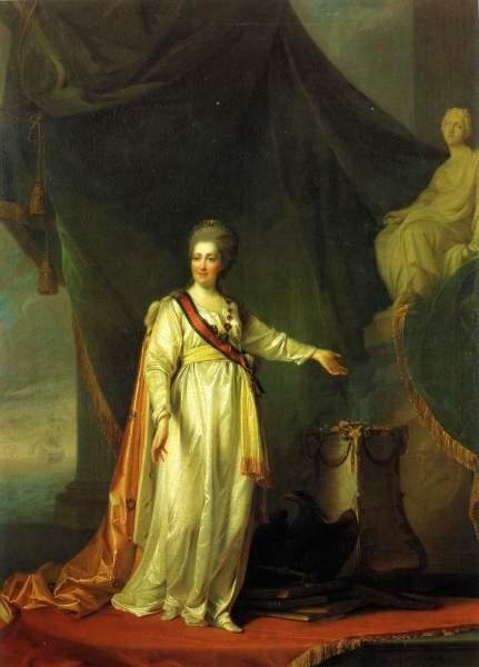Портрет Екатерины II в виде законодательницы в храме богини правосудия . Около 1783 г.