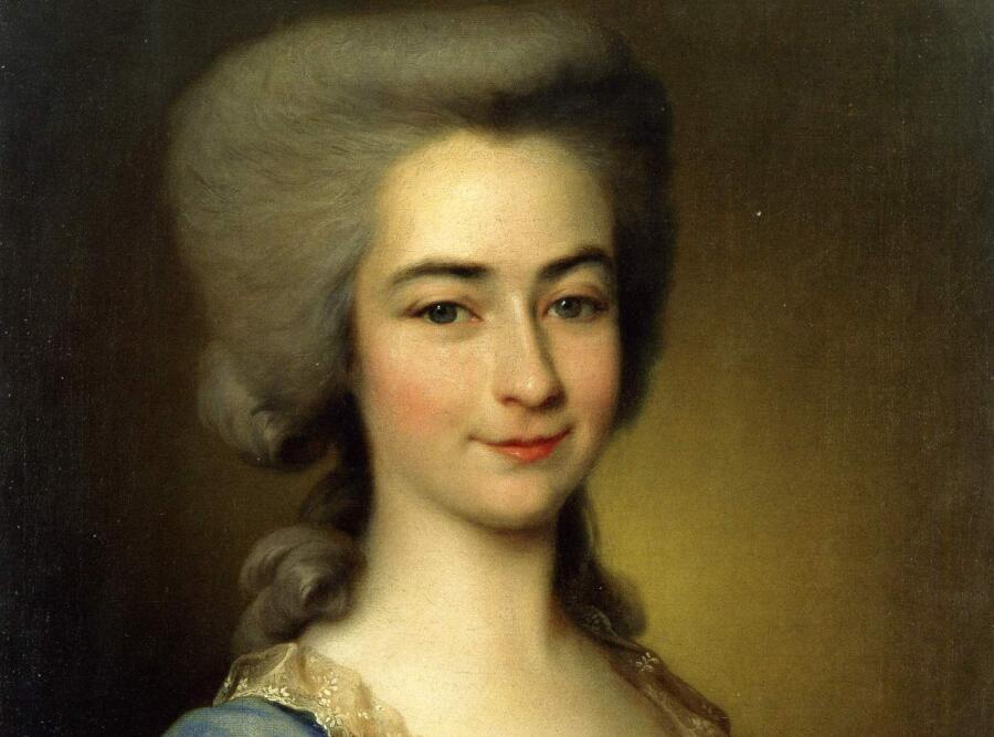 «Портрет неизвестной в голубом», фрагмент, 1784 г.